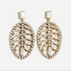 J Crew Tropical Palm Crystal Statement Earrings